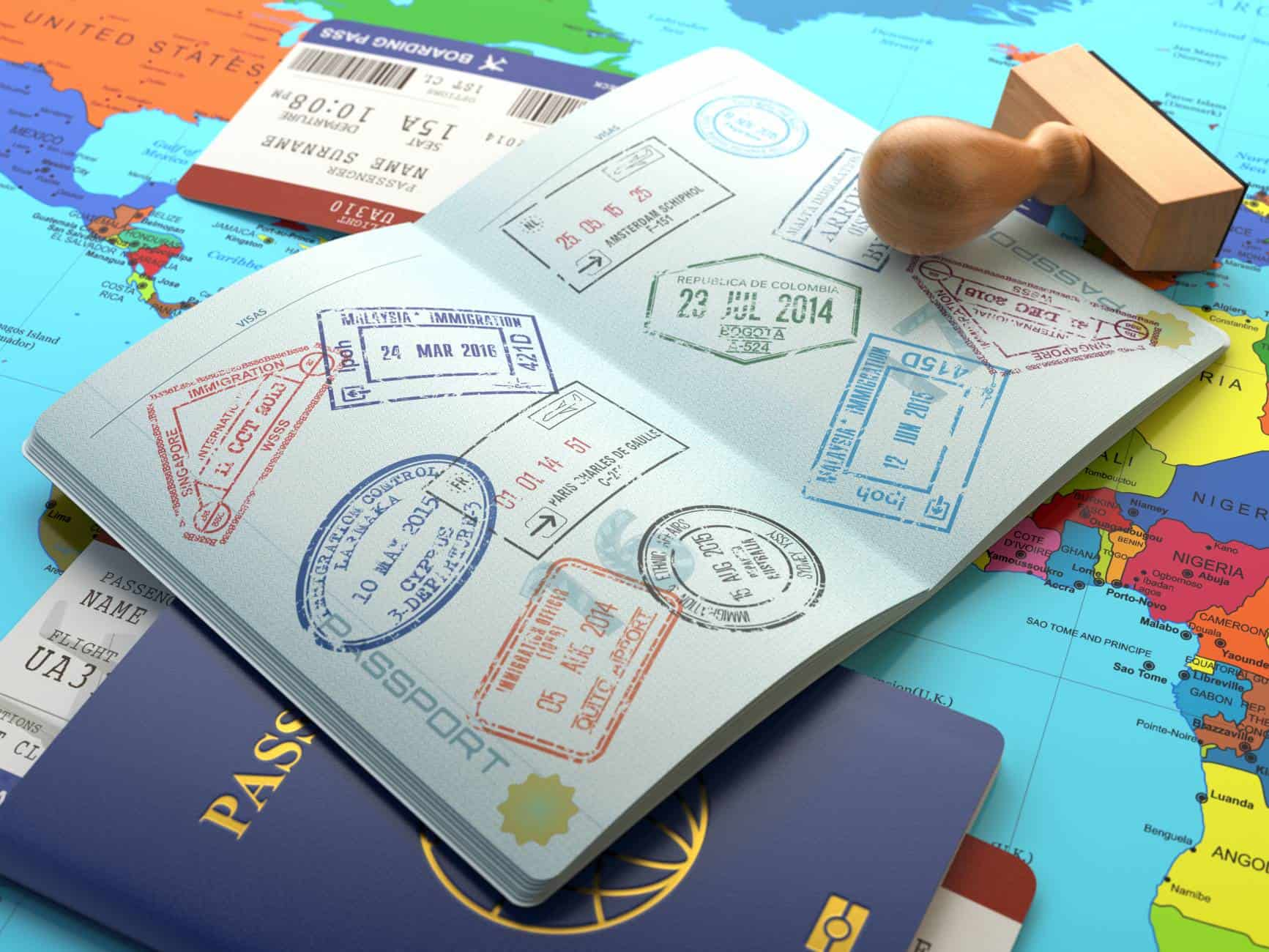 visa stamps boarding pass passport map shutterstock 397569799 big
