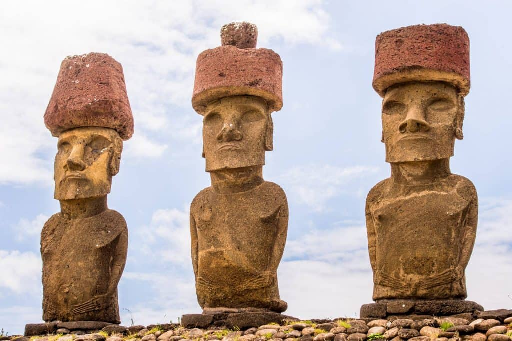 rapa nui easter island chile.three of seven ahu akivi moaionly moai facing the sea